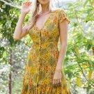 Yellow Vintage V Neck Print Mini Dress