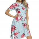 Light Mint Floral Print Twist Front Handkerchief Hem Dress