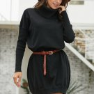 Black Ribbed Cowl Neck Lightweight Sweater Dress