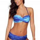 Blue Gradient Print Halter Bandeau Bikini Swimsuit