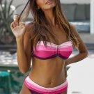 Rose Gradient Color Block Push Up Bikini Swimwear
