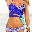 Blue Bohemian Tropical Print Bikini