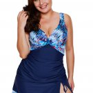 pcs Tropical Print Detail Navy Blue Bathing Suit