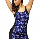 Blue Round Neck Flower Print Tankini Bathing Suit
