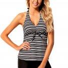 Monochrome V Neck Stripe Print Halter Tankini Swimsuit
