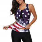 American Flag Print Racerback Tankini Swimsuit