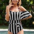 Black Spaghetti Straps Striped Ruffled One Piece Swimsuit