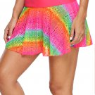 Rainbow Lace Flared Swim Skirt