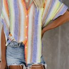 Orange Happier With You Striped Button Down Top