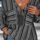 Gray Striped Buttoned Down Blouse