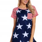 Striped Short Sleeves Red Navy American Flag T Shirt