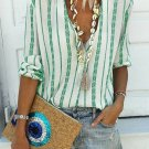Green V Neck Striped Button Down Blouse