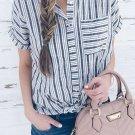 Gray Stripe Casual Collar Short Sleeve Shirt