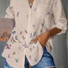 Apricot Butterfly Print Pocketed Shirt