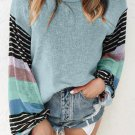 Sky Blue Striped Color Block Long Sleeve Knit Top