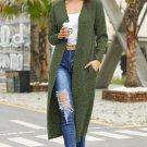 Green Open Front Knit Long Cardigan