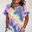 Purple Tie Dye Print Ruffled Short Sleeves T Shirt