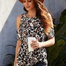 Black Brown Leopard Print Cold Shoulder Top