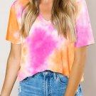 Orange Gradient Tie Dye V Neck T Shirt