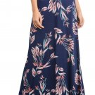 Navy Vibrant Floral Print Long Maxi Skirt