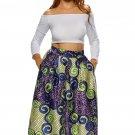 Vintage High Waist Multicolor A-lined Midi Skirt