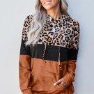 Orange Leopard Tie Dye Color Block Hoodie