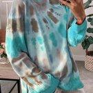 Sky Blue Tie Dye Side Slits Pullover Sweatshirt