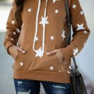 Brown Hooded Cotton Blend Star Sweatshirt