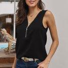 Black Zip Neckline Sleeveless Shirt Tank