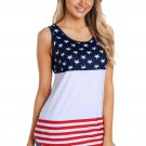 White Sleeveless Color Block American Flag Print Tunic Top