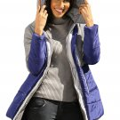 Gray Navy Color Block 2 In 1 Look Quilted Jacket