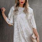 Silvery Sequin Shift Mini Dress