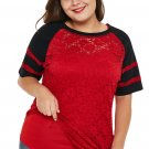 Red Lace Panel Raglan Sleeve Plus Size T Shirt