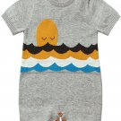 Gray Adorable Shy Sun Pattern Knitted T Shirt Baby Romper