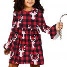 Buffalo Plaid Reindeer Christmas Little Girl Dress
