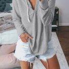 Gray Drawstring V Neck Hoodie Loungewear