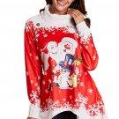 Cowl Neck Santa Claus Snowman Xmas Tunic Top