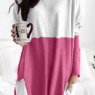 Rose Color Block Casual Long Sleeve Tunic with Pockets