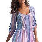 Multicolor Pleated Stripe Button Front Tunic