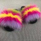 Purple Stripy Fur Ball Pom Flat Slippers