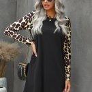 Black Leopard Splicing Pocket Mini Dress
