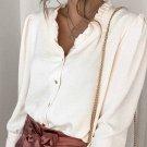 Beige Frilled V Neckline Buttoned French Shirt