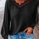 V Neck Lace Patchwork Black Blouse