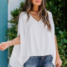 White Draped Dolman Sleeves V Neck Blouse