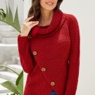 Burgundy Buttoned Wrap Turtleneck Sweater