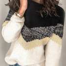 Black V Stripe Pattern Colorblock Sweater