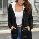 Black Fur Hood Horn Button Sweater Cardigan