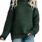 Dark Green Cozy Long Sleeves Turtleneck Sweater