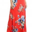 Orange Vibrant Floral Print Long Maxi Skirt