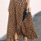 Khaki Spotted Printed Slit Long Skirt
